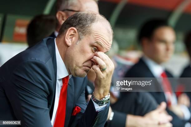 Joerg Schmadtke of Koeln looks on during the UEFA Europa League group H match between 1 FC Koeln and Crvena Zvezda at RheinEnergieStadion on...