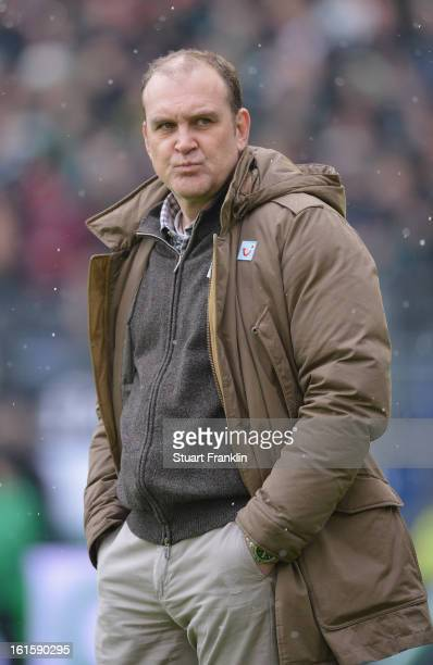 Joerg Schmadtke sports director of Hannover ponders during the Bundesliga match between Hannover 96 and TSG 1899 Hoffenheim at AWD Arena on February...