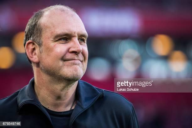 Joerg Schmadtke sports director of Koeln looks on prior to the Bundesliga match between 1 FC Koeln and Werder Bremen at RheinEnergieStadion on May 5...