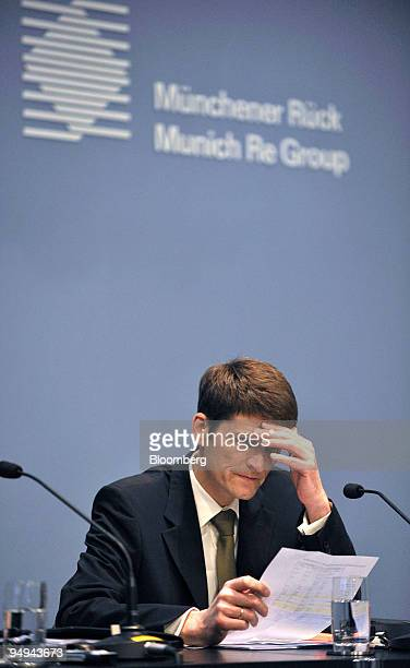 Joerg Schneider chief financial officer of Munich Re pauses during the presentation of the company's results in Munich Germany on Tuesday March 3...