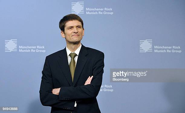 Joerg Schneider chief financial officer of Munich Re poses ahead of the presentation of the company's results in Munich Germany on Tuesday March 3...