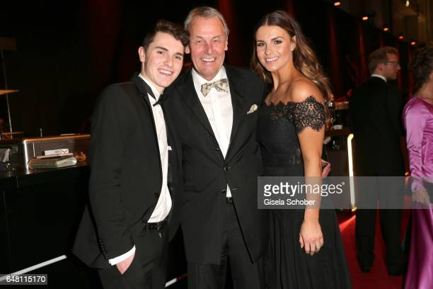 Joerg Wontorra and his daughter Laura Wontorra and his son Marcel Wontorra during the Goldene Kamera reception at Messe Hamburg on March 4 2017 in...