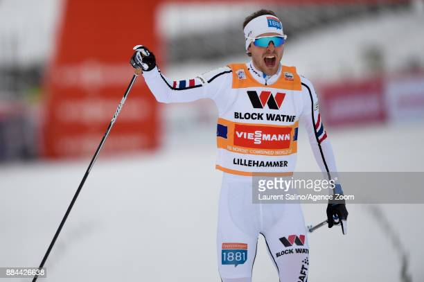 Joergen Graabak of Norway takes 1st place during the FIS Nordic World Cup Men's and Women's Nordic Combined HS100/Team on December 2 2017 in...