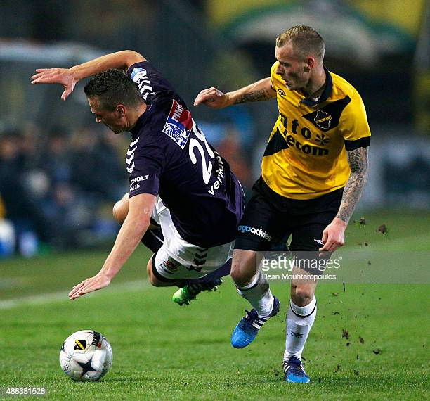 Joeri de Kamps of NAC and Wesley Verhoek of Go Ahead Eagles battle for the ball during the Dutch Eredivisie match between NAC Breda and Go Ahead...