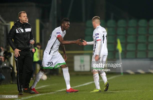Joeri Dequevy of OH Leuven is replaced by Aboubakar Keita of OH Leuven during the Proximus League Play Down match between Lommel SK and OH Leuven at...