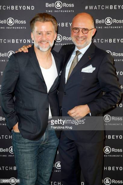 Joern F Kengelbach editor in chief Robb Report and Carlos Rosillo founder and CEO of Bell Ross attend the Bell And Ross Cocktail Party In...