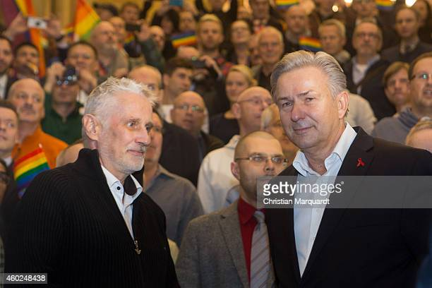 Joern Kubicki and Berlin Mayor Klaus Wowereit attend the Klaus Wowereit farewell fest on December 10, 2014 in Berlin, Germany. Wowereit is openly gay...
