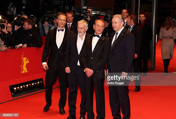 Joern Kubicki Bertrand Delanoe and Klaus Wowereit arrive for the closing ceremony during 64th Berlinale International Film Festival at Berlinale...