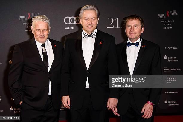 Joern Kubicki, Klaus Wowereit and Ulrich Heide attend the 21st Aids Gala at Deutsche Oper Berlin on January 10, 2015 in Berlin, Germany.