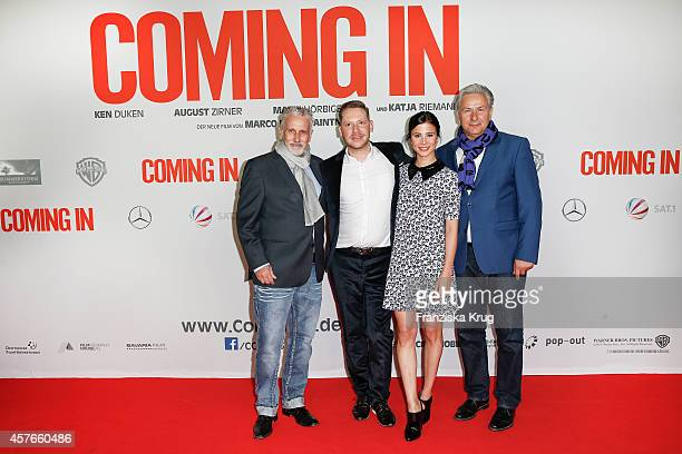 Joern Kubiki Marco Kreuzpaintner Aylin Tezel and Klaus Wowereit attend the 'Coming In' Premiere in Berlin on October 22 2014 in Berlin Germany
