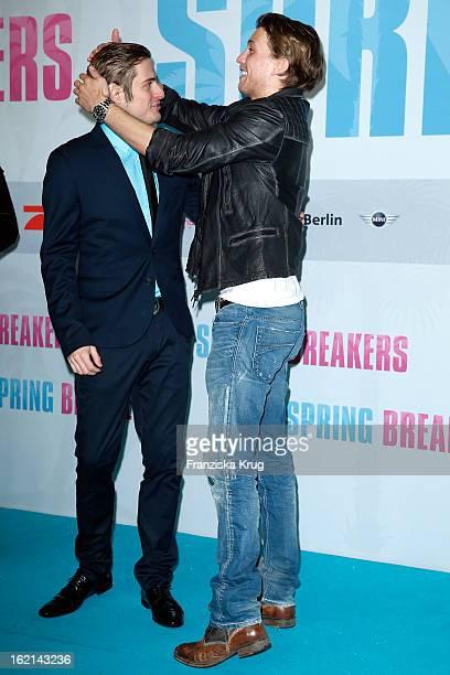 Joern Schloenvoigt and Raul Richter attend the German premiere of 'Spring Breakers' at the cinestar Potsdamer Platz on February 19 2013 in Berlin...