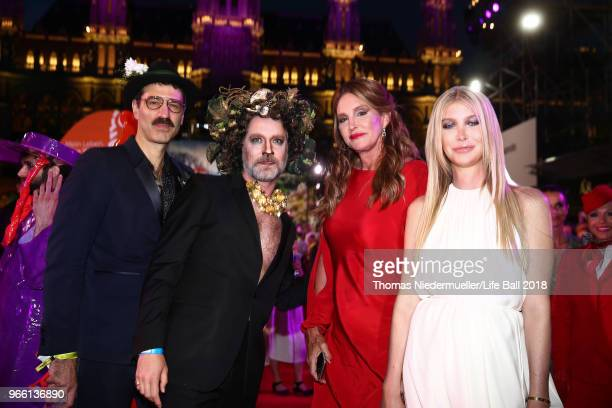Joern Weisbrodt Rufus Wainwright Caitlyn Jenner and Sophia Hutchins attend the LIFE Solidarity Gala prior to the Life Ball at City Hall on June 2...