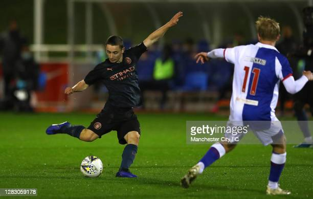 Joeseph Hodge of Manchester City scores a goal during the FA Youth Cup Semi Final match between Blackburn Rovers and Manchester City at St George's...