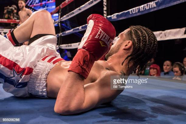 Joesph Adorno defeats Ivan Gil de Lamadrid by Knockout in the 1st round in their Super Featherweight fight at The Hulu Theatre at Madison Square...