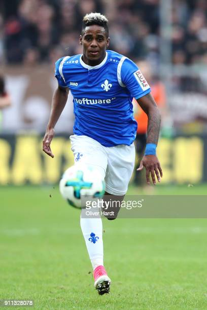 Joevin Jones of Darmstadt in action during the Second Bundesliga match between FC St Pauli and SV Darmstadt 98 at Millerntor Stadium on January 28...