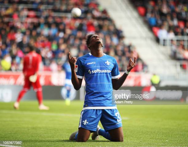 Joevin Jones of SV Darmstadt 98 celebrates after scoring the first goal during the Second Bundesliga match between SSV Jahn Regensburg and SV...