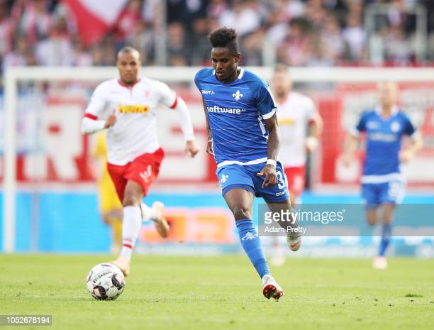 Joevin Jones of SV Darmstadt 98 controls the ball during the Second Bundesliga match between SSV Jahn Regensburg and SV Darmstadt 98 at Continental...