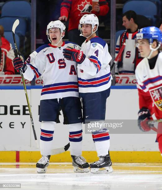 Joey Anderson and Ryan Poehling of United States against Czech Republic during the Bronze Medal Game of the IIHF World Junior Championship at KeyBank...