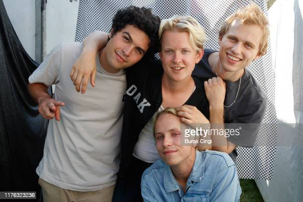 Joey Armstrong Max Becker Seb Mueller and Cole Becker of SWMRS on day three of Reading Festival 2019 at Richfield Avenue on August 25 2019 in Reading...