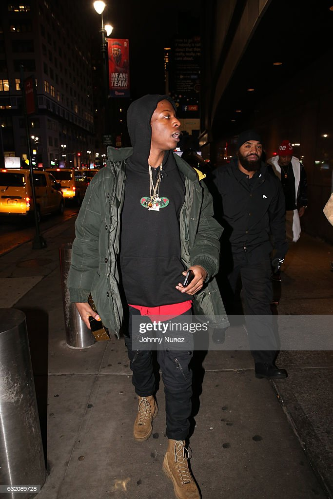 Joey Bada$$ arrives at Yams Day With A$AP Rocky at Madison Square Garden on January 18, 2017 in New York City.