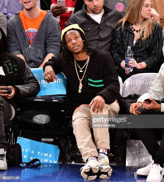Joey Badass attends the Atlanta Hawks Vs New York Knicks game at Madison Square Garden on December 10 2017 in New York City