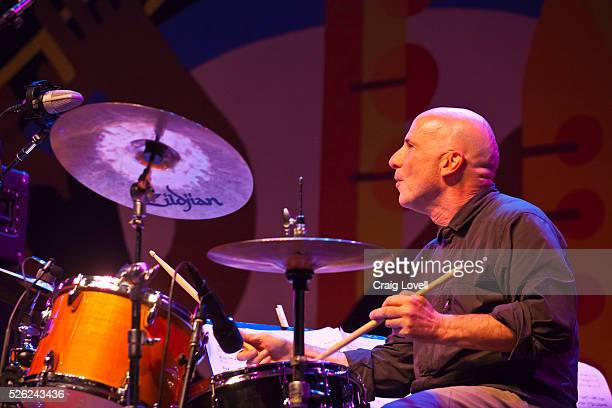 Joey Baron plays drums with the Joe Lovano and Dave Douglas Quartet on the Jimmy Lyons Stage at the Monterey Jazz Festival Monterey California