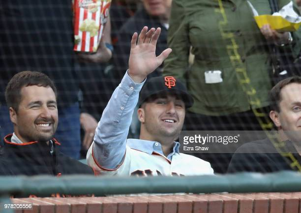 Joey Bart the number two overall pick in the draft by the San Francisco Giants waves to the crowd during the Giants game against the Miami Marlins at...