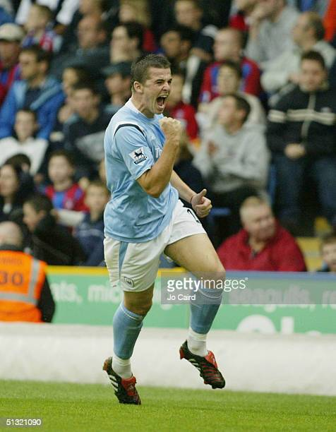 Joey Barton celebrates the first goal during the Barclays Premiership match between Crystal Palace and Manchester City at Selhurst Park on September...