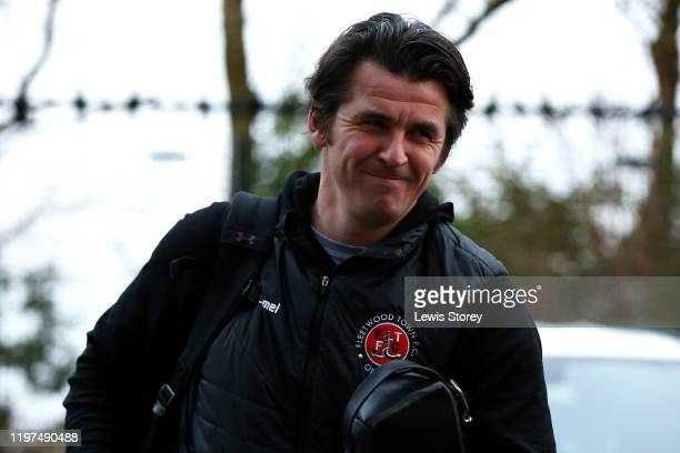 Joey Barton manager of Fleetwood Town arrives at the stadium prior to the FA Cup Third Round match between Fleetwood Town and Portsmouth FC at...