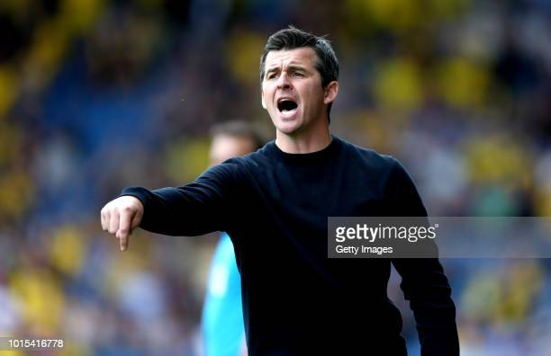 Joey Barton manager of Fleetwood Town gestures during the Sky Bet League One match between Oxford United and Fleetwood Town at Kassam Stadium on...
