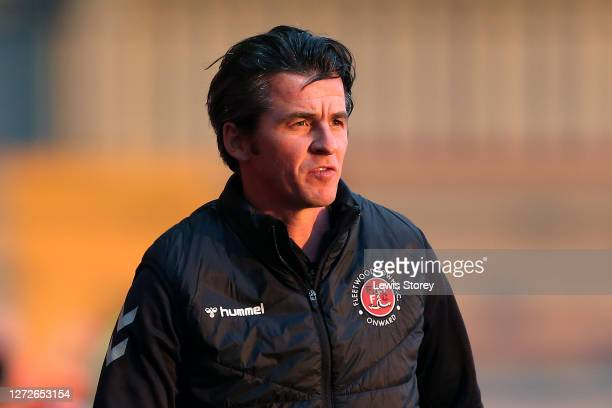 Joey Barton, manager of Fleetwood Town looks on during the Carabao Cup Second Round match between Fleetwood Town and Port Vale at Highbury Stadium on...