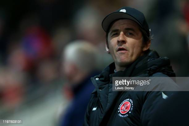 Joey Barton manager of Fleetwood Town looks on prior to the FA Cup Third Round match between Fleetwood Town and Portsmouth FC at Highbury Stadium on...
