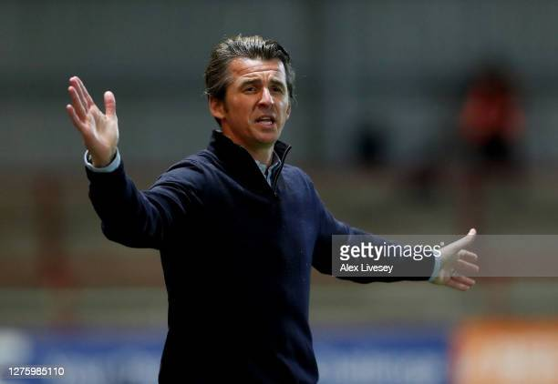 Joey Barton, Manager of Fleetwood Town reacts during the Carabao Cup third round match between Fleetwood Town and Everton at Highbury Stadium on...