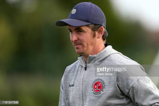 Joey Barton manager of Wrexham looks on prior to pre season friendly between Fleetwood Town and Wrexham on July 05, 2019 in Fleetwood, England.