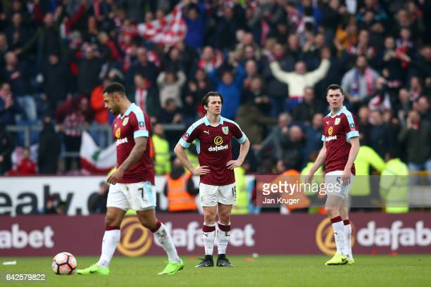 Joey Barton of Burnley and Michael Keane of Burnley are dejected after Lincoln City score during The Emirates FA Cup Fifth Round match between...