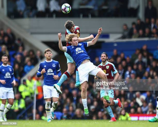 Joey Barton of Burnley and Tom Davies of Everton during the Premier League match between Everton and Burnley at Goodison Park on April 15 2017 in...