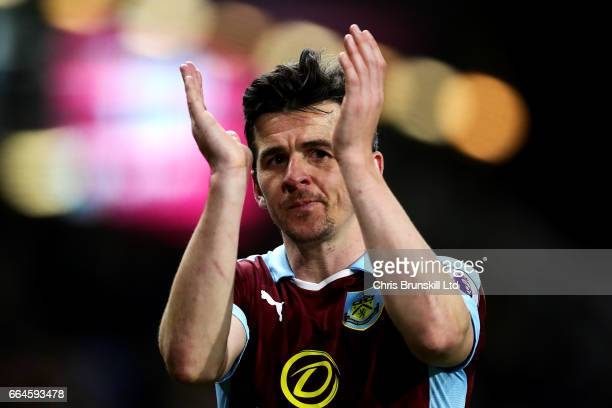 Joey Barton of Burnley applauds the supporters at fulltime following the Premier League match between Burnley and Stoke City at Turf Moor on April 4...