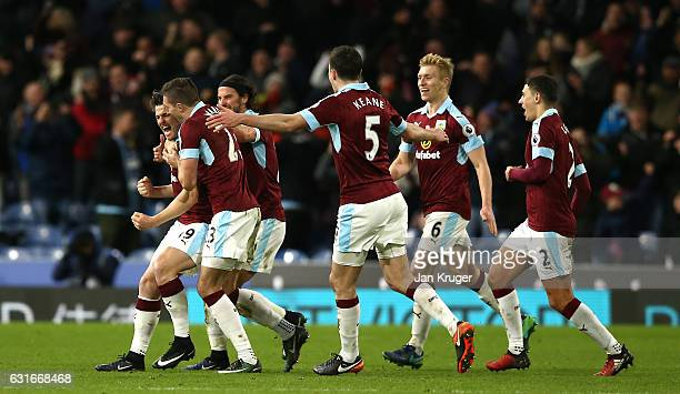Joey Barton of Burnley celebrates scoring his sides first goal during the Premier League match between Burnley and Southampton at Turf Moor on...