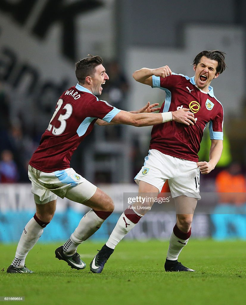 Joey Barton of Burnley (R) celebrates scoring his sides first goal with Jeff Hendrick of Burnley (L) during the Premier League match between Burnley and Southampton at Turf Moor on January 14, 2017 in Burnley, England.