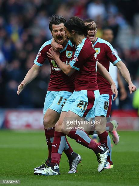 Joey Barton of Burnley celebrates with George Boyd after his deflected free kick goes in for the opening goal during the Sky Bet Championship match...