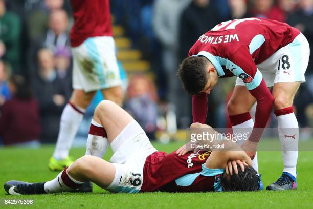 Joey Barton of Burnley holds his head during The Emirates FA Cup Fifth Round match between Burnley and Lincoln City at Turf Moor on February 18 2017...