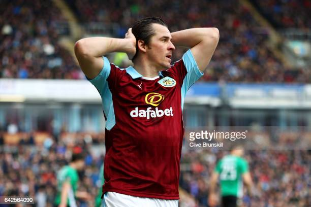 Joey Barton of Burnley reacts during The Emirates FA Cup Fifth Round match between Burnley and Lincoln City at Turf Moor on February 18 2017 in...