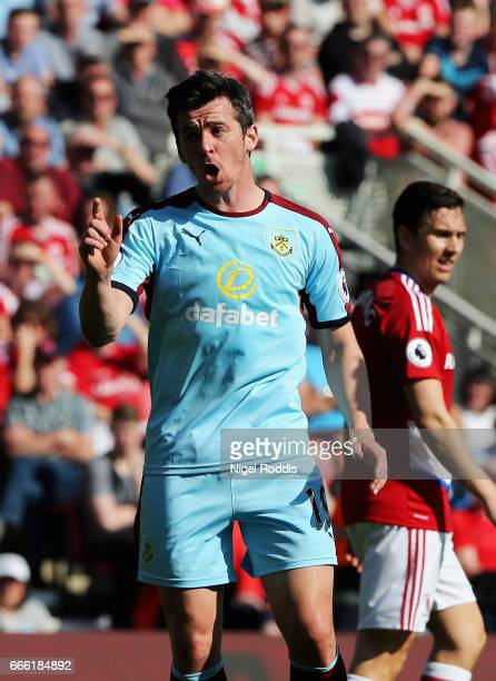 Joey Barton of Burnley reacts during the Premier League match between Middlesbrough and Burnley at Riverside Stadium on April 8 2017 in Middlesbrough...