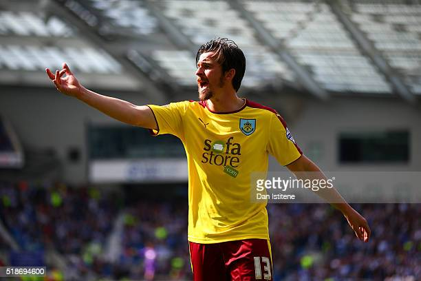 Joey Barton of Burnley reacts during the Sky Bet Championship match between Brighton Hove Albion and Burnley at Amex Stadium on April 2 2016 in...