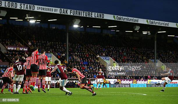 Joey Barton of Burnley scores his sides first goal during the Premier League match between Burnley and Southampton at Turf Moor on January 14 2017 in...