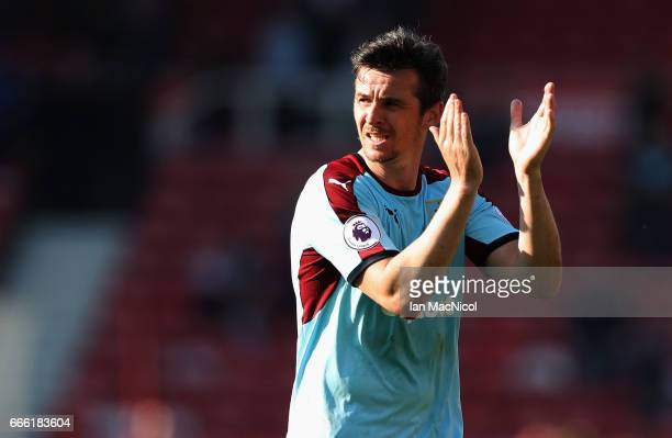 Joey Barton of Burnley shows appreciation to the fans after the Premier League match between Middlesbrough and Burnley at Riverside Stadium on April...
