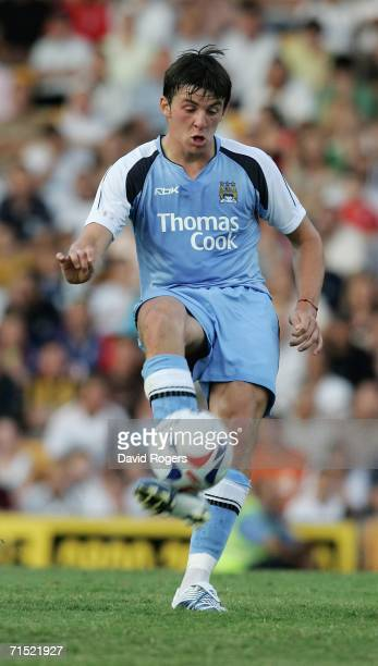 Joey Barton of Manchester City pictured on the ball during the preseason friendly match between Port Vale and Manchester City at Vale Park on July 26...