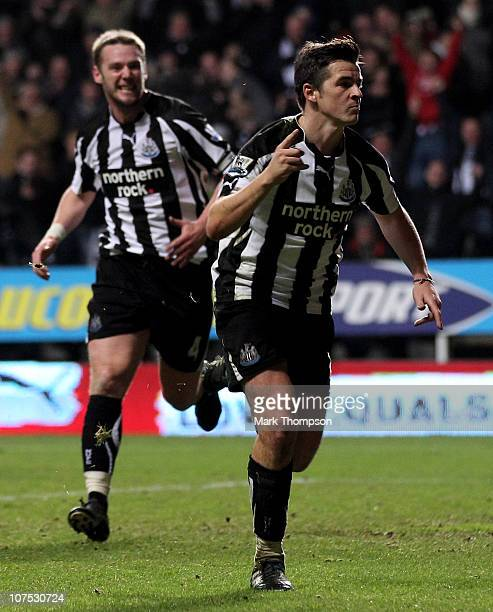 Joey Barton of Newcastle United celebrates scoring his team's second goal during the Barclays Premier League match between Newcastle United and...