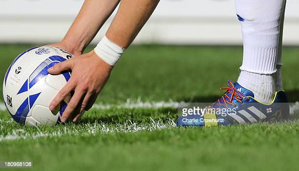Joey Barton of QPR wears rainbow coloured shoe laces as part of a campaign against homophobia in football during the Sky Bet Championship match...
