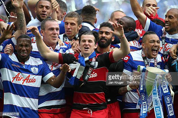 Joey Barton of Queens Park Rangers celebrates the win with team mates during the Sky Bet Championship playoff final match between Derby County and...
